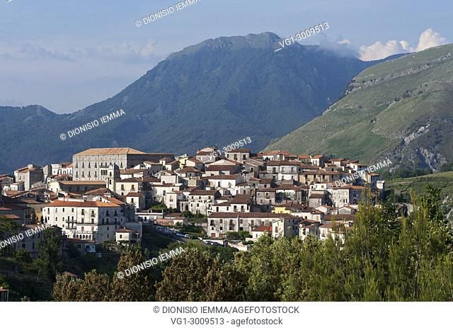 Aieta, district of Cosenza, Calabria, Italy, Europe, view of the village
