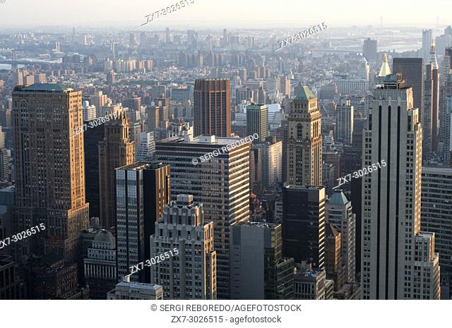 Aerial views of Midtown and Upper East Side skyscrapers view from The Rockefeller Centre, New York, America