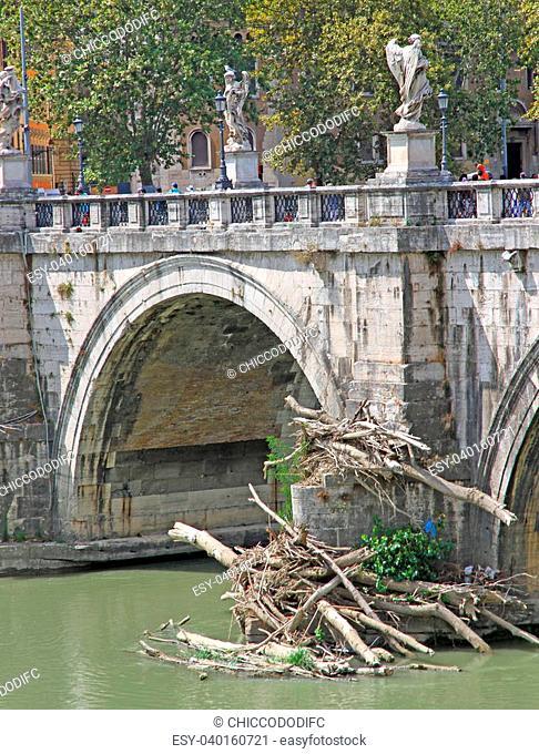 Tiber River and Saint Angel Bridge Rome in Italy