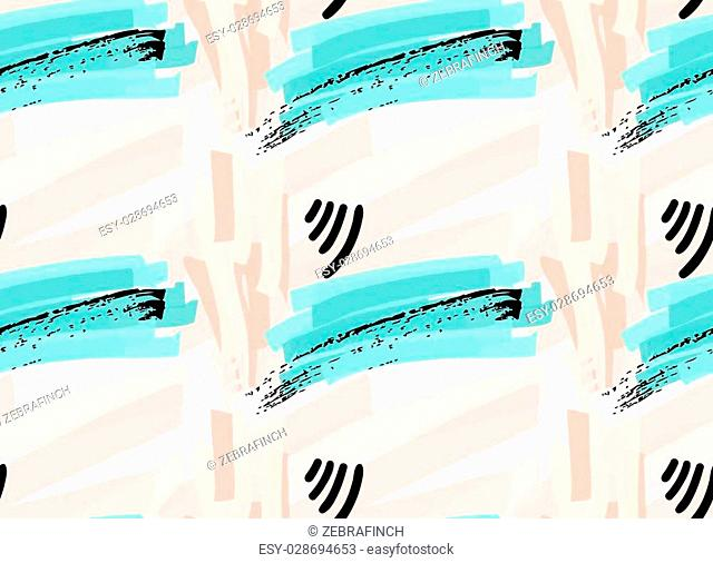 Artistic color brushed pastel strokes with black grunge.Hand drawn with ink and marker brush seamless background.Abstract color splush and scribble design