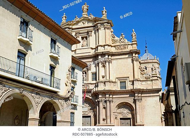 house facades, San Patricio, church, historic city, Lorca, Murcia, Spain, Europe