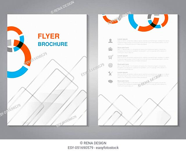 Vector modern brochure, abstract flyer with simple glass squared design. Layout template. Aspect Ratio for A4 size. Poster of blue, orange, grey and white color
