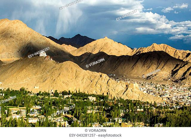 Namgyal Tsemo Gompa monastery on the hill in sunset light in Leh, India