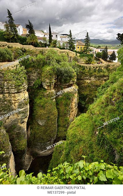 The hanging gardens of Cuenca over El Tajo Gorge and Guadalevin river Ronda Spain
