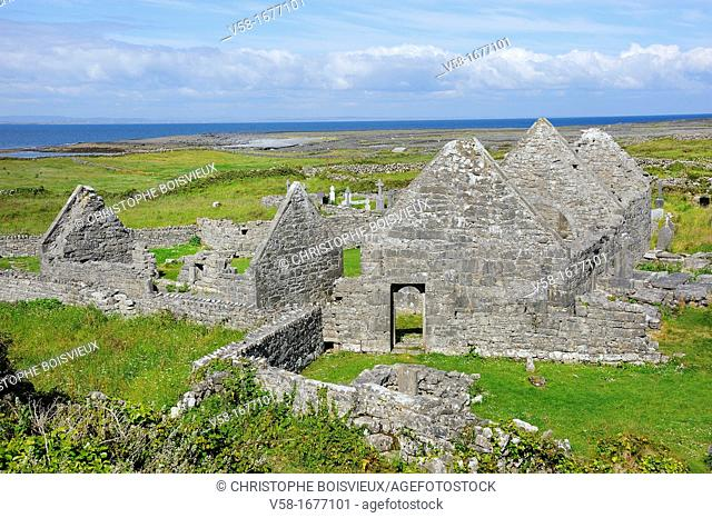 Ireland, County Galway, Aran Islands, Inishmore, Seven churches Na Seacht d'Teampaill monastic settlement