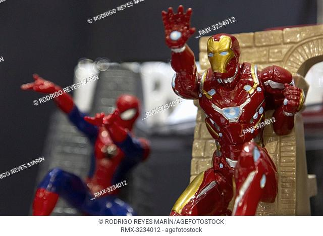 February 13, 2019, Tokyo, Japan - Figurines of Spider-Man and Iron Man on display during the 87th Tokyo International Gift Show (TIGS) Spring 2019 in Tokyo Big...