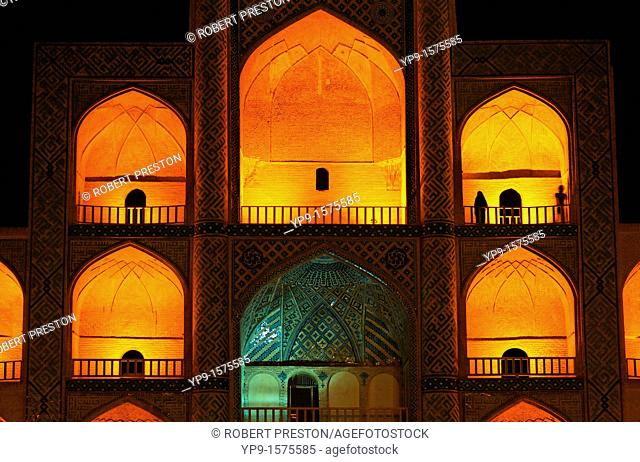 Night view of the Mir Chaqmaq facade, Yazd, Iran