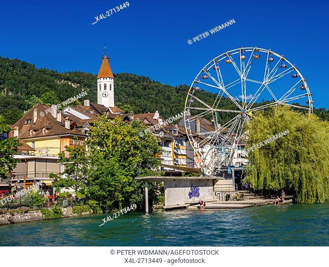 Ferris Wheel in the Old Town of Thun at the Lake Thun, Bernese Oberland, Canton of Bern, Switzerland, Europe