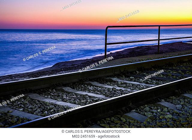 Train in San Pol de Mar in the coast of the province of Barcelona in Catalonia, Spain