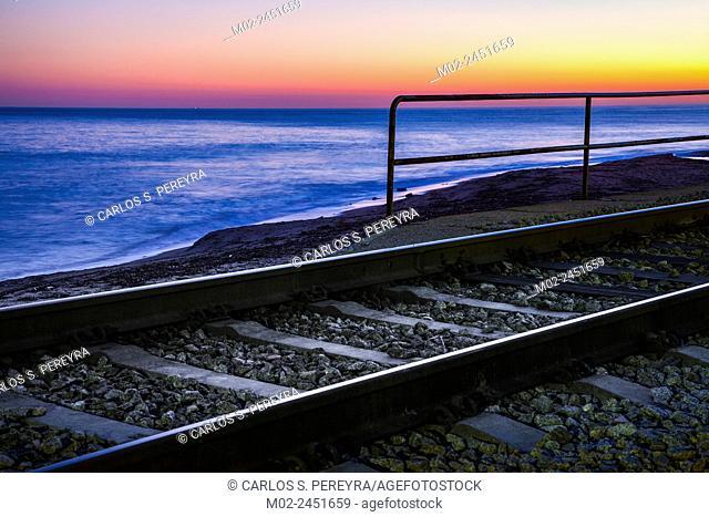 Train in San Pol de Mar in the coast of the province of Barcelona in Catalonia, Spain