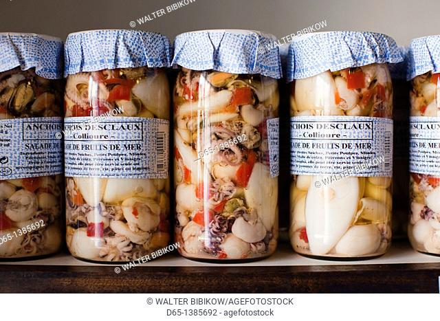 France, Languedoc-Roussillon, Pyrennes-Orientales Department, Vermillion Coast Area, Collioure, seafood in jars