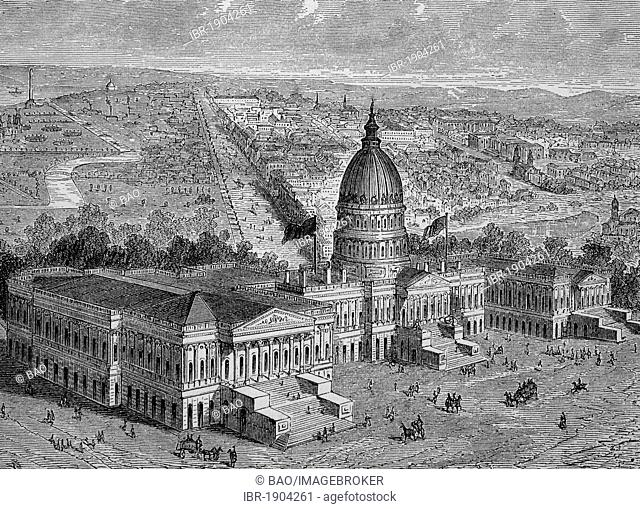 The Capitol, Washington, USA, historical woodcut, circa 1870