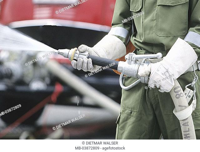 Firefighter, Löscharbeiten, hose, water, detail, fires, fire, practice, fire-fighting, man, occupation, firehose, fire brigade, use, hands, gloves, hose