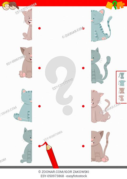 Cartoon Illustration of Educational Game of Matching Halves of Cats Animal Characters