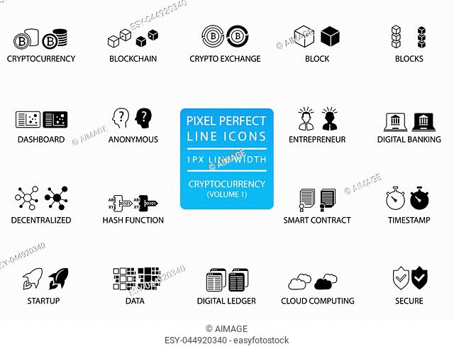 Cryptocurrency (bitcoin, ethereum) thin line vector icon set. Pixel perfect icons with 1 px line width for optimal app and web usage