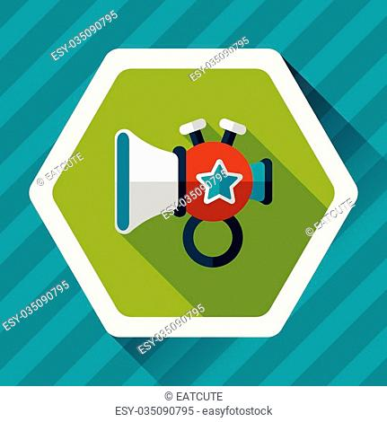 trumpet or horn toy flat icon with long shadow, eps10
