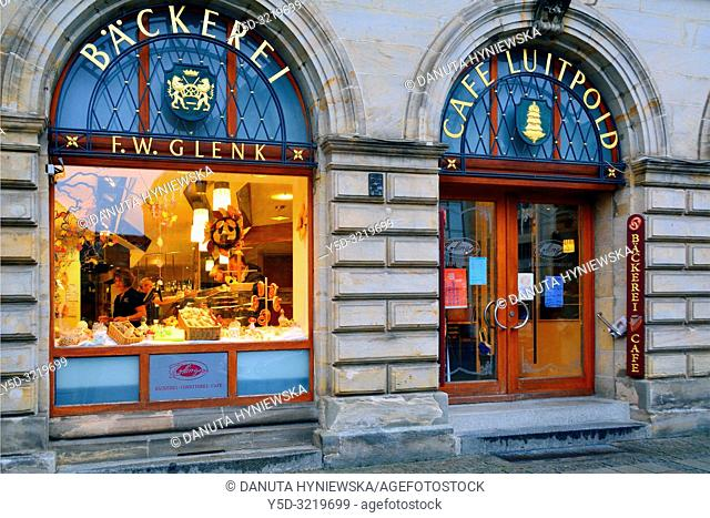 Historic bakery and confectionery shop, old town pedestrian zone, city of Bayreuth, capital of Upper Franconia, Bavaria , Bayern, Germany, Europe