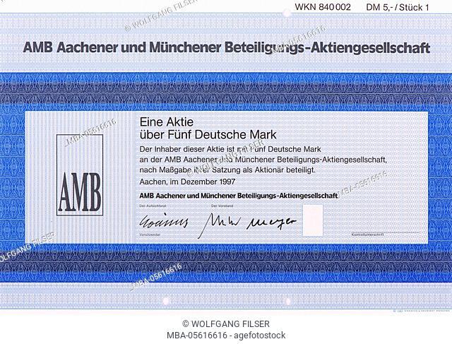 Stock of the company AMB Aachener und Münchener Beteiligungs-Aktiengesellschaft