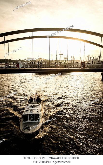 Hamburg harbor at sunset time, Germany, Eruope