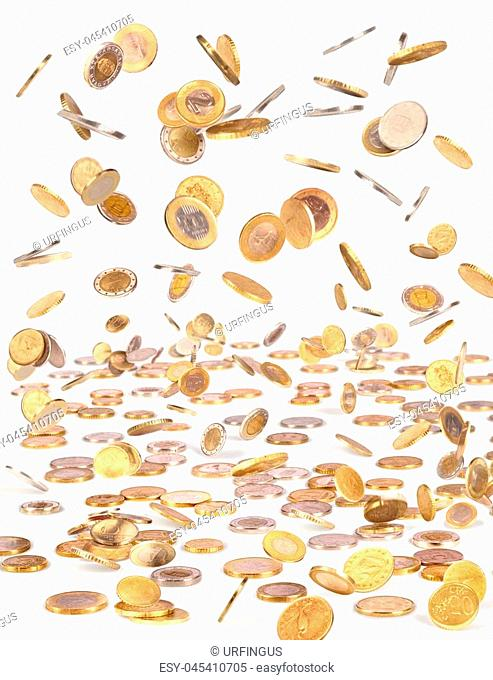 Isolated flying money, falling coins for business on the white background