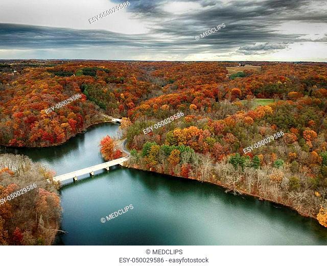 Aerial view of Little Seneca Lake at Black Hill Reginal Park Part of Clarksburg - Maryland, USA