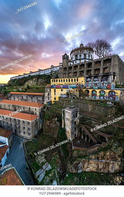 Sunrise sky above Serra do Pilar Monastery and Port Wine cellars in Vila Nova de Gaia city