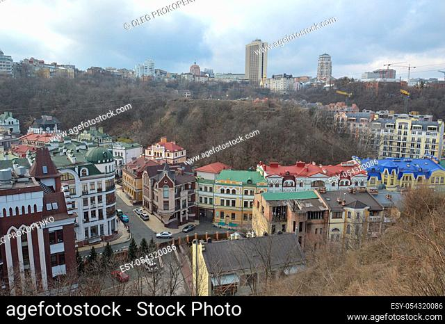 KIEV, UKRAINE - FEBRUARY 16, 2020: Panorama of the city and architecture of the Podil
