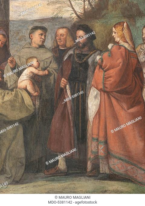 The Miracle of the Newborn Child (Miracolo del neonato), by Titian, 1511, 16th Century, fresco, 340 x 355 cm