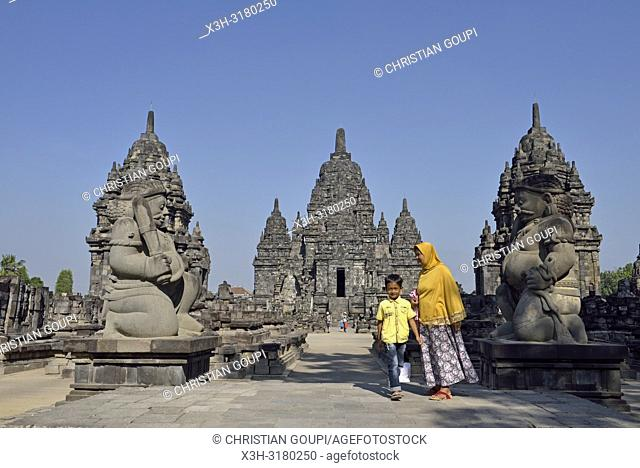 stone gate guardians (dvarapala) of Sewu Temple Compound, eighth century Buddhist temple located at the north of Prambanan Temple Compounds