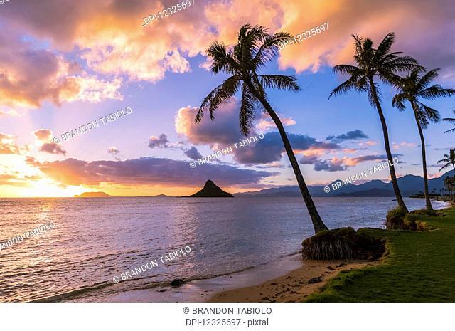 Sunrise at Kualoa Beach Park overlooking Chinaman's Hat; Kualoa, Oahu, Hawaii, United States of America