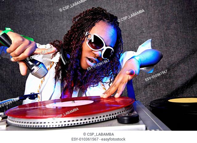 cool afro american DJ in action