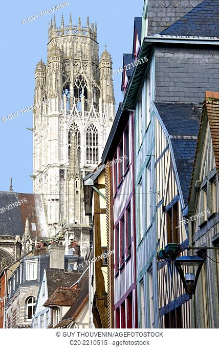 Saint Maclou church ( 15th c.),Central Tower, ( detail )and half timbered houses, exterior, Rouen , upper Normandy, 76000, France