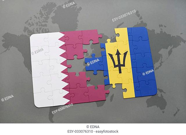 puzzle with the national flag of qatar and barbados on a world map background. 3D illustration