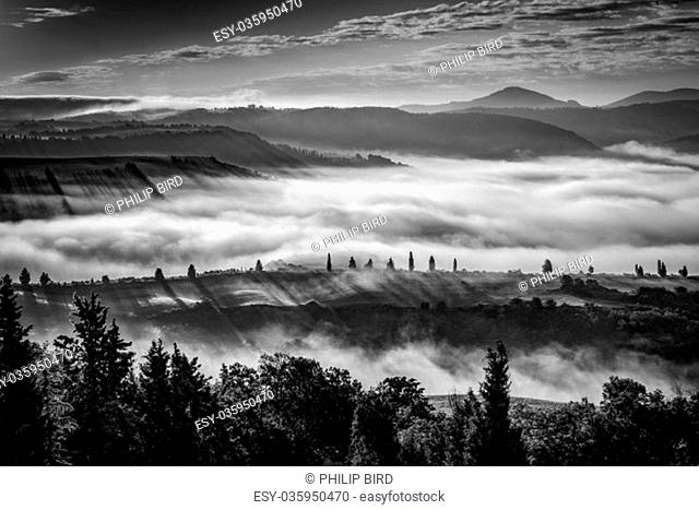 Misty morning in Val d'Orcia