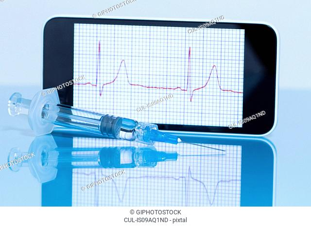 Smart phone displaying an electrocardiogram, disposable syringe in foreground
