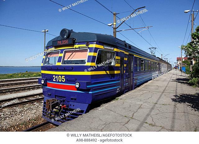 waiting train at platform of  Paldiski (Baltischport) train station , Baltic State, Eastern Europe