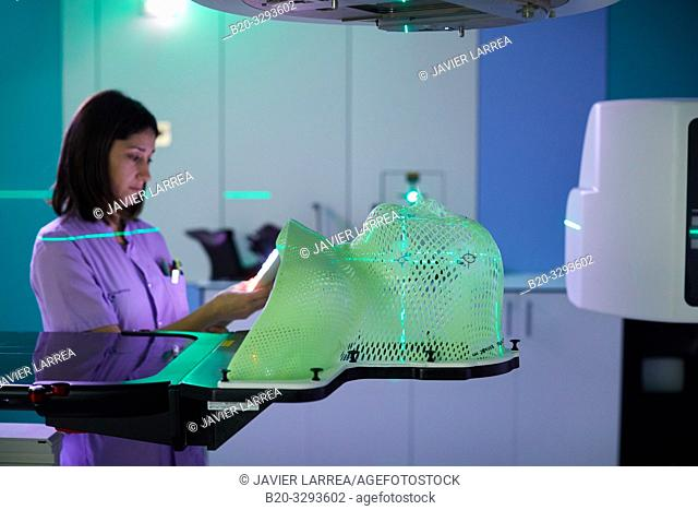 Radiation therapy masks, Linear accelerator, Radiotherapy, Oncology, Hospital Donostia, San Sebastian, Gipuzkoa, Basque Country, Spain