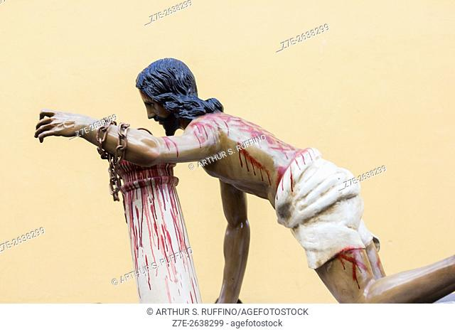 Close-up of statue of Christ chained to a column. Small float in the Lenten procession of Jesus of Nazareth of the Church of Saint Ann (Procesion de Jesus...