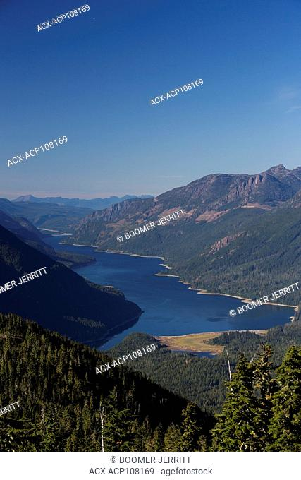Scenic view looking down from Flower Ridge onto Buttle Lake, Strathcona Park, Central Vancouver Island, British Columbia, Canada