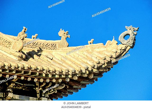 china, gobi, jiayuguan, the end of the great wall, detail of pagoda roof