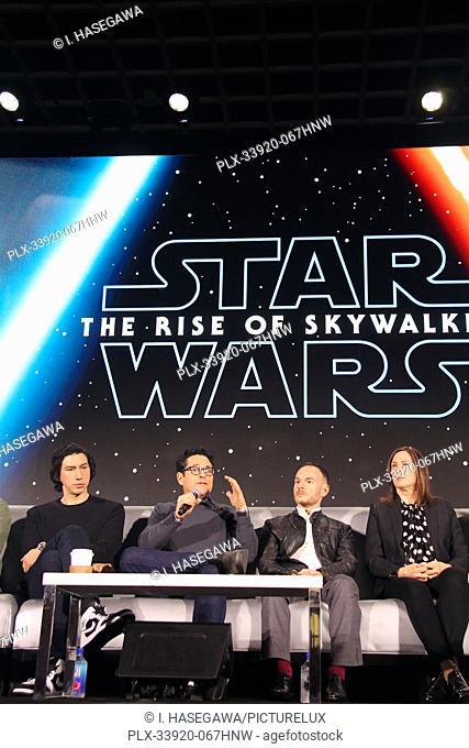 "Adam Driver, J.J. Abrams, Chris Terrio, Kathleen Kennedy 12/04/2019 """"Star Wars: The Rise of the Skywalker"""" Press Conference held in Pasadena, CA"