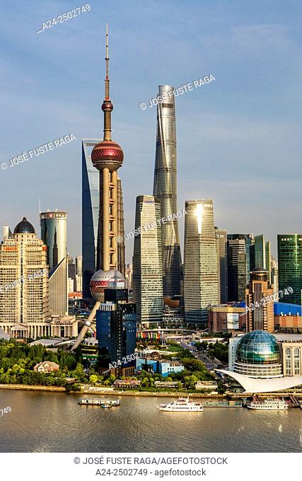 Oriental Pearl, World Financial Center and Shanghai Towers, Huangpu River, Pudong skyline, Shanghai, China