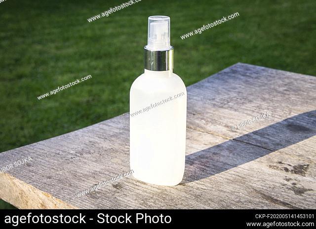 a hand disinfection, sprayer disinfectant solution Anti-COVID, May 14, 2020. (CTK Photo/Libor Sojka)