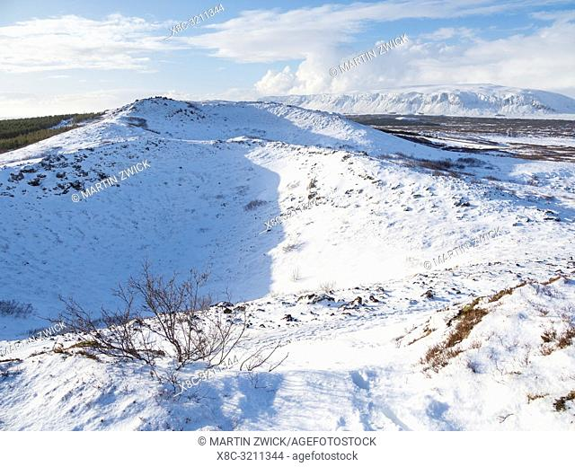 Crater Kerid (Kerith) during winter near Selfoss, part of the Golden Circle. Europe, Northern Europe, Scandinavia, Iceland, February