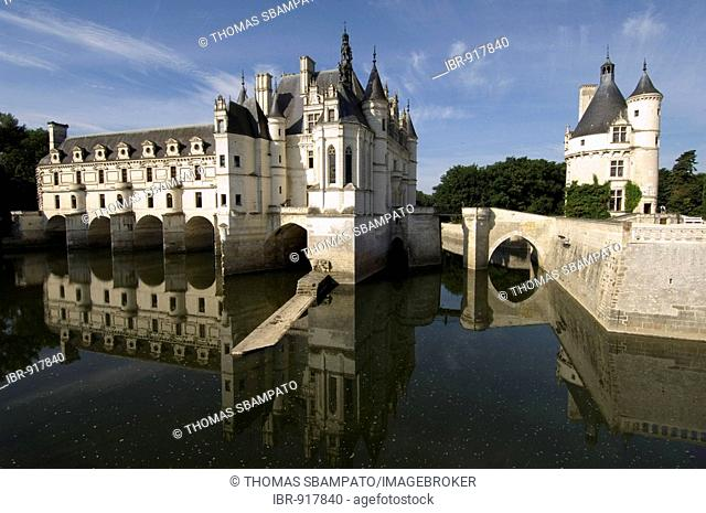 Chenonceau Castle on the Cher River, near Tours, France, Europe