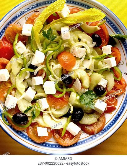 Greek salad : tomato,feta,cucumber ,pepper and olive salad