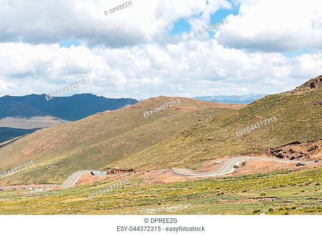 Black Mountain Pass in Lesotho. The highest point of the pass is 3240 meter above sea level