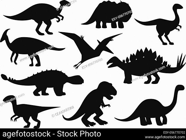 Dinosaurs icons, Jurassic park dino monsters silhouettes. Vector isolate t-rex tyrannosaurus, brontosaurus and triceraptors, velociraptor and pterodactyl