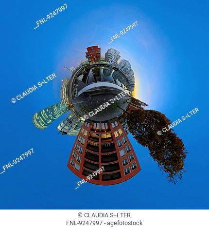 Westhafen, Frankfurt am Main, Germany, tiny planet photography