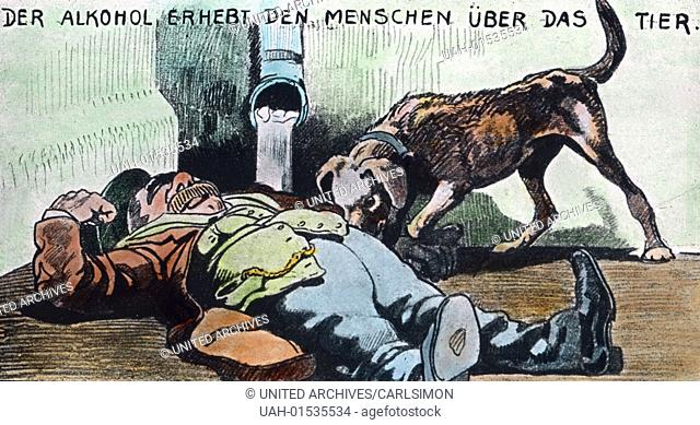 alcoholism - Alcohol soars man above the animal - black humour - zynical caricature, image date circa 1920. Carl Simon Archive